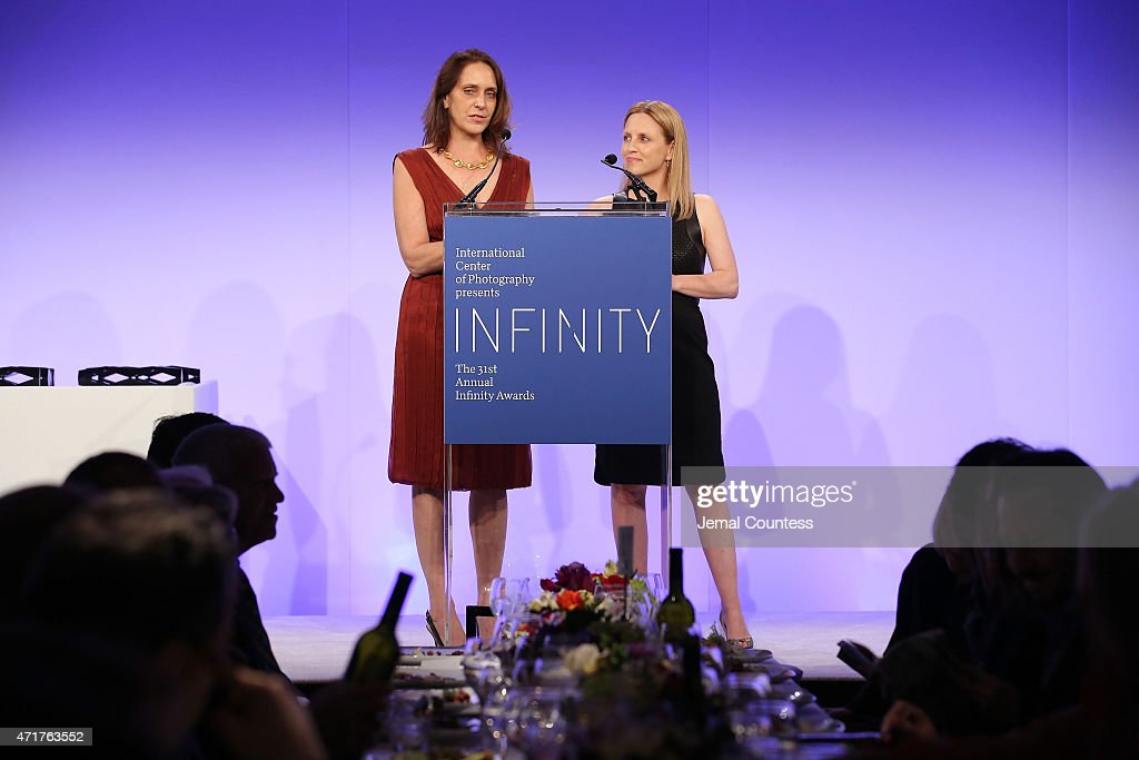 Vice President, North American Sales at Getty Images, Katie Calhoun (L) and President of Lean In Rachel Thomas speak onstage at the International Center of Photography 31st annual Infinity Awards at Pier Sixty at Chelsea Piers on April 30, 2015 in New York City.