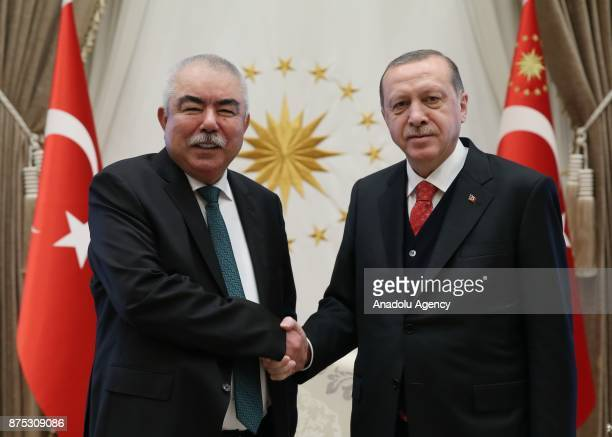 Vice President of Afghanistan Abdul Rashid Dostum meets Turkish President Recep Tayyip Erdogan at the Presidential Complex in Ankara Turkey on...