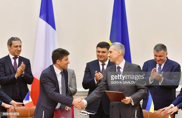 Vice President of Airbus Helicopters Olivier Michalon French Ambassador to Ukraine Isabelle Dumont Prime Minister of Ukraine Volodymyr Groysman and...