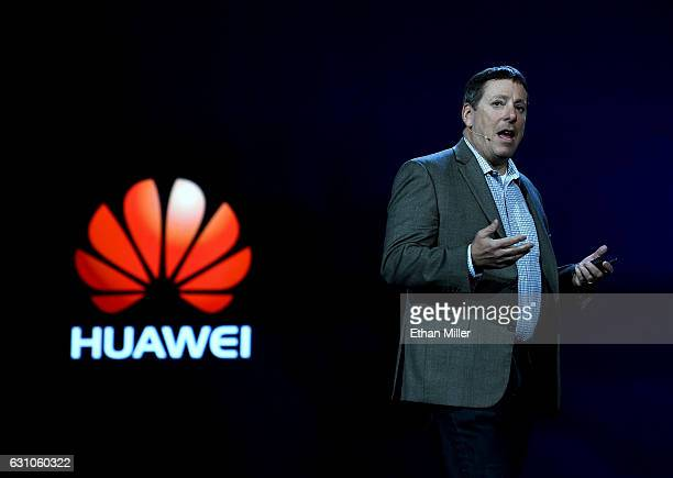 Vice President of Amazon Alexa Steve Rabuchin speaks during a keynote address by CEO of Huawei Consumer Business Group Richard Yu delivers a keynote...