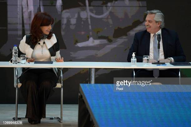 Vice President of Argentina Cristina Fernandez de Kirchner and President of Argentina Alberto Fernandez smile during a press conference to give...