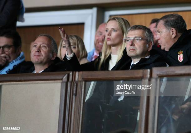 Vice President of AS Monaco Vadim Vasilyev and President of AS Monaco Dmitri Rybolovlev attend the UEFA Champions League Round of 16 second leg match...