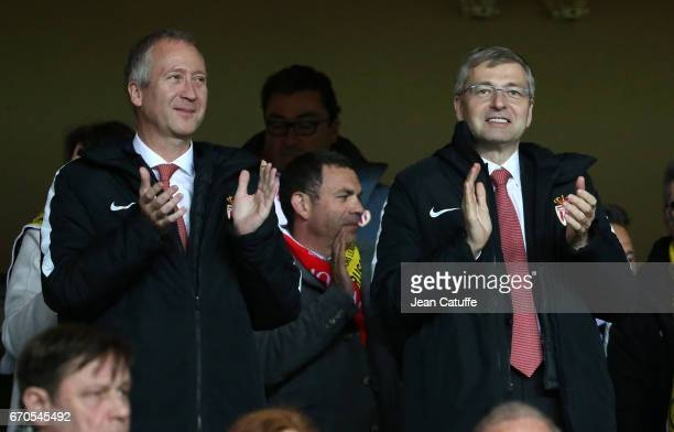 Vice President of AS Monaco Vadim Vasilyev and President of AS Monaco Dmitri Rybolovlev celebrate the victory following the UEFA Champions League...