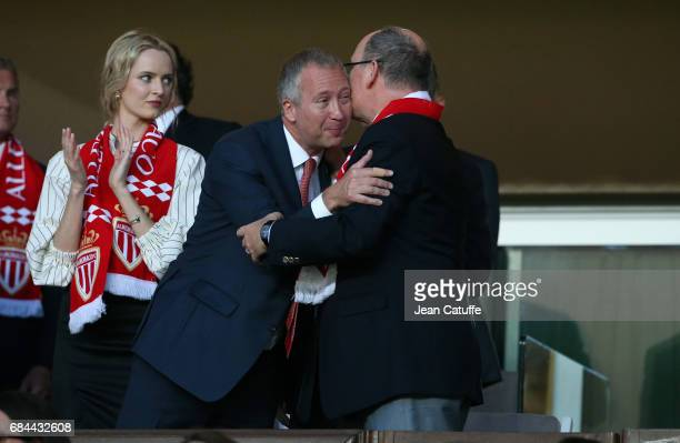 Vice President of AS Monaco Vadim Vasilyev and Prince Albert II of Monaco attend the French Ligue 1 match between AS Monaco and AS SaintEtienne at...