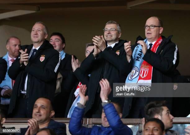 Vice President of AS Monaco Vadim Vasilyev President of AS Monaco Dmitri Rybolovlev and Prince Albert II of Monaco celebrate the victory following...