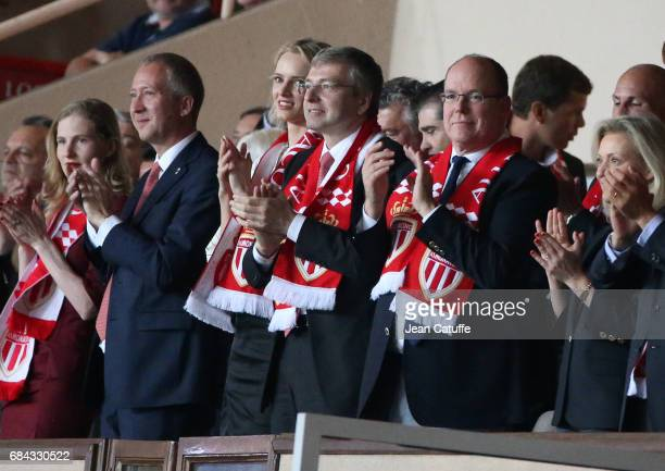 Vice President of AS Monaco Vadim Vasilyev President of AS Monaco Dmitri Rybolovlev Prince Albert II of Monaco attend the French Ligue 1 match...