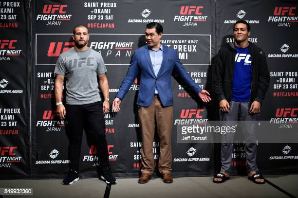 Vice President of Asia Pacific Kevin Chang directs fighters Gokhan Saki of Netherlands and Henrique da Silva of Brazil during the UFC Ultimate Media...