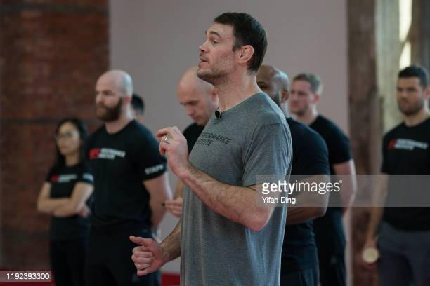 Vice president of athlete development of UFC Forrest Griffin gives a speech during the close ceremony of UFC Academy Combine at UFC Performance...