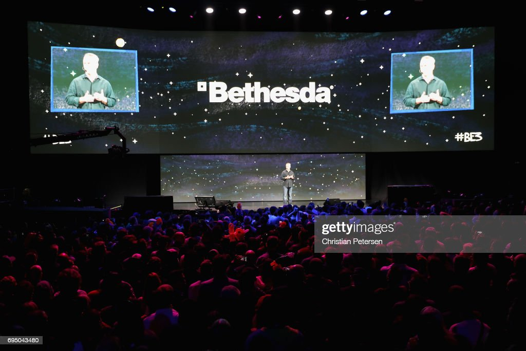 Vice president of Bethesda Softworks, Pete Hines speaks during the Bethesda E3 conference at the LA Center Studios on June 11, 2017 in Los Angeles, California. The E3 Game Conference begins on Tuesday June 13.