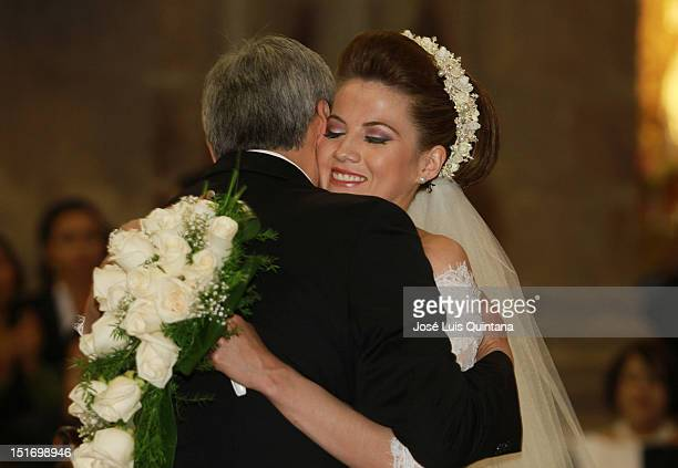 Vice President of Bolivia Alvaro Garcia Linera and the journalist Claudia Fernández marry in the church of San Francisco on September 09 in La Paz...