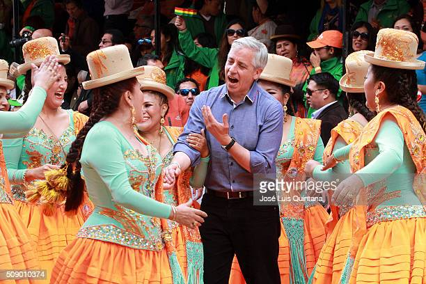 Vice President of Bolivia Alvaro Garcia Linera greets performers during the Oruro Carnival on February 06 2016 in Oruro Bolivia Oruros carnival is...