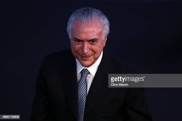 Vice President of Brazil Michel Temer looks on prior to the Opening Ceremony of the Rio 2016 Olympic Games at Maracana Stadium on August 5 2016 in...