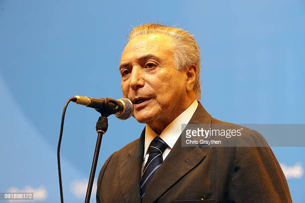Vice President of Brazil Michel Temer speaks to the media at the Main Press Centre on Day 13 of the Rio 2016 Olympic games on August 18 2016 in Rio...