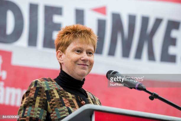 Vice President of Bundestag Petra Pau speaks at a preelection party event at Herrmannplatz in Neukoelln in Berlin Germany on September 9 2017