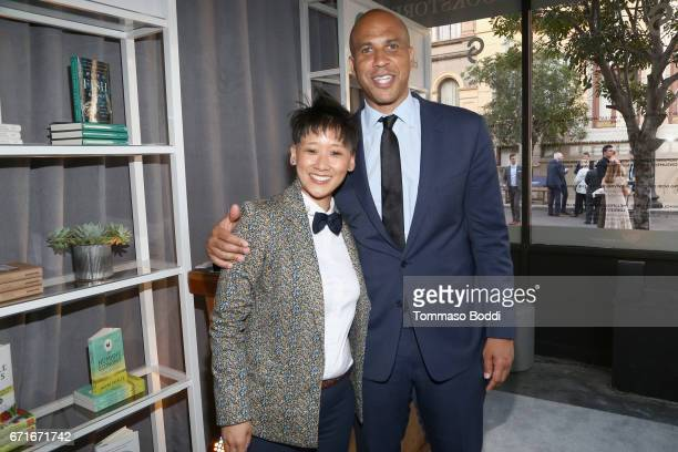 Vice President of Celebrity and Entertainment Outreach for The HSUS Michelle Cho and honoree Cory Booker at The Humane Society of the United States'...