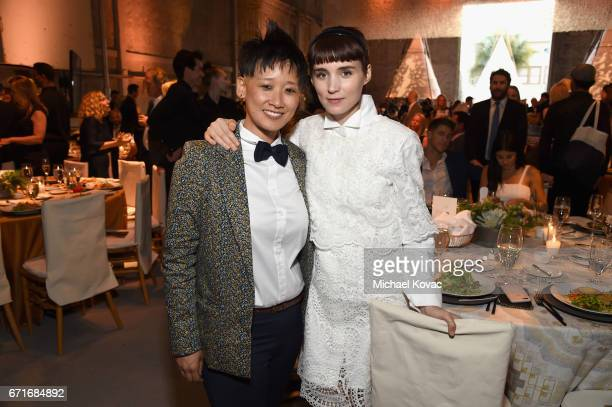 Vice President of Celebrity and Entertainment Outreach for The HSUS Michelle Cho and actor Rooney Mara at The Humane Society of the United States' To...