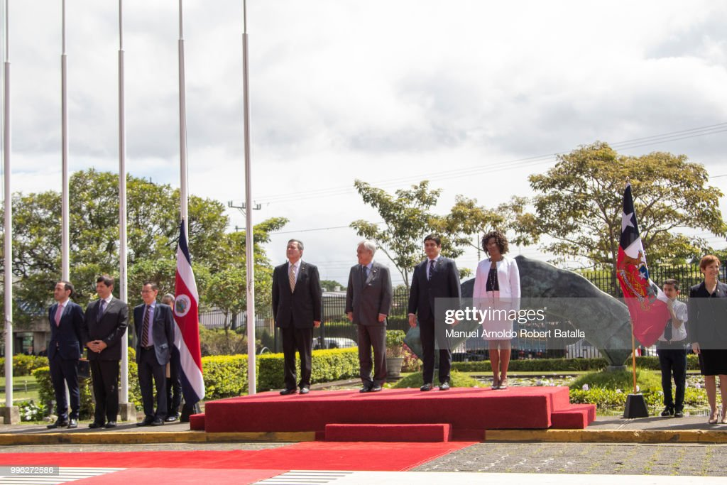 Vice President of Costa Rica Epsy Campbell, President of Costa Rica Carlos Alvarado, President of Chile Sebastian Pinera and Roberto Ampuero Chilean Chancellor stand during a welcoming ceremony as part of an Official Visit to Costa Rica at the Presidential House on July 9, 2018 in San Jose, Costa Rica.