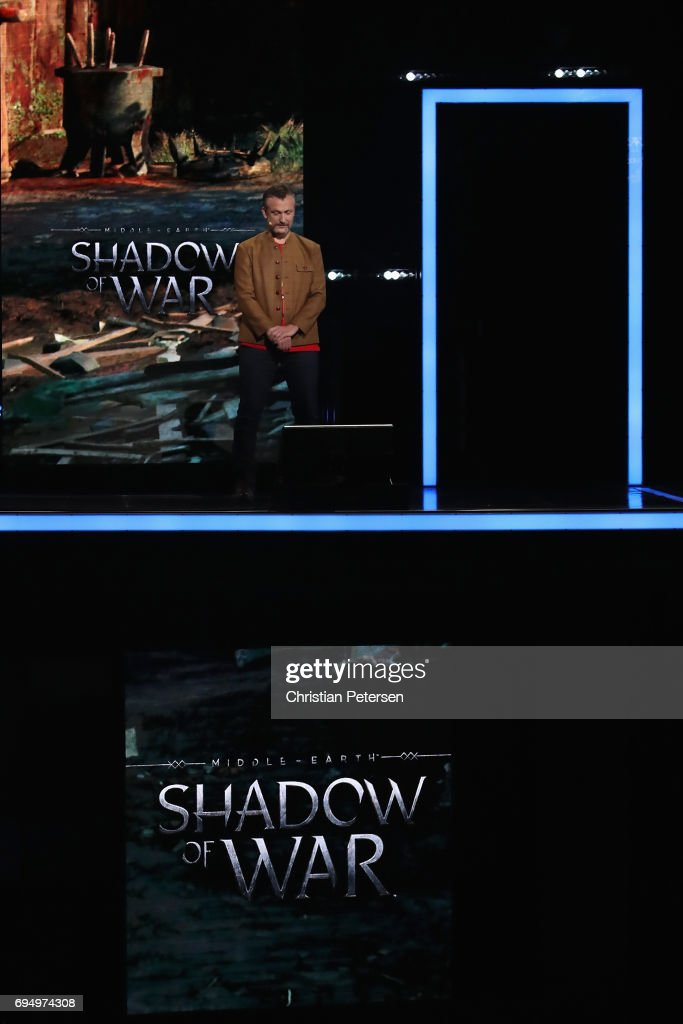 Vice President of Creative at Monolith Productions, Michael de Plater introduces 'Middle Earth Shadow of War' during the Microsoft xBox E3 briefing at the Galen Center on June 11, 2017 in Los Angeles, California. The E3 Game Conference begins on Tuesday June 13.