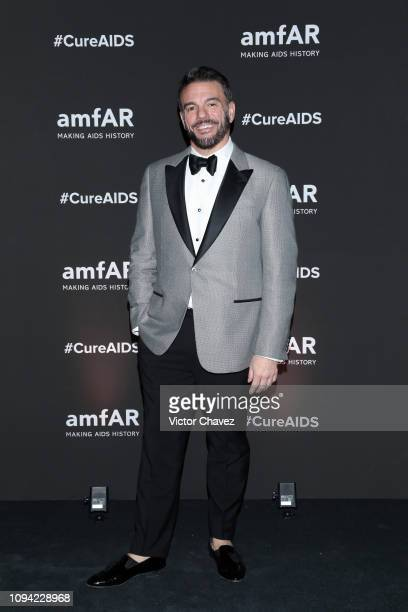 Vice President of Development of amFAR Eric Muscatell poses during the amfAR gala dinner at the house of collector and museum patron Eugenio López on...