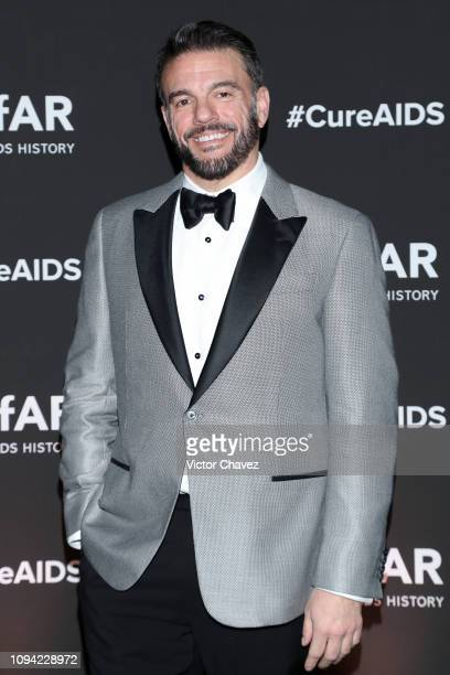 Vice President of Development of amFAR Eric Muscatell poses during the amfAR gala dinner at the house of collector and museum atron Eugenio López on...