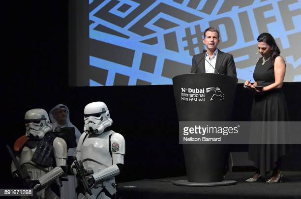 Vice President of Disney Chafic Najia speaks at the Star Wars The Last Jedi Closing Night Gala on day eight of the 14th annual Dubai International...