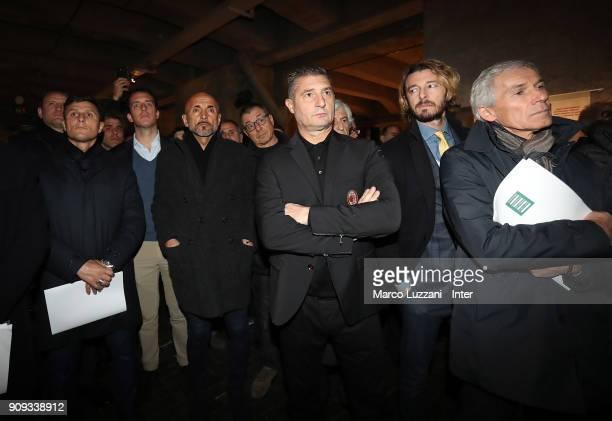 Vice President of FC Internazionale Javier Zanetti and FC Internazionale coach Luciano Spalletti visit The Holocaust Memorial at Stazione Centrale on...
