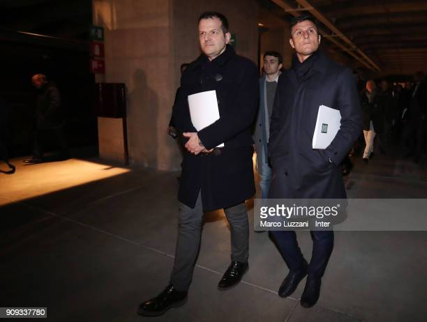 Vice President of FC Internazionale Javier Zanetti visits The Holocaust Memorial at Stazione Centrale on January 23 2018 in Milan Italy