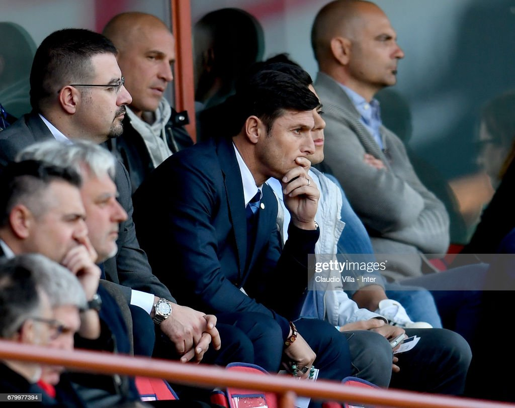 Vice President of FC Internazionale Milano Javier Zanetti looks on during the Serie A match between Genoa CFC and FC Internazionale at Stadio Luigi Ferraris on May 7, 2017 in Genoa, Italy.