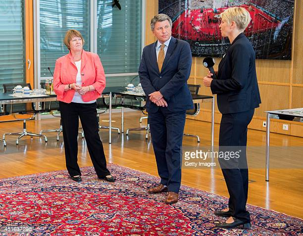 Vice President of German Football Association Hannelore Ratzeburg head of advertising and sponsorship Allianz Germany AG Manfred Boschatzke and team...