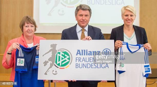 Vice President of German Football Association Hannelore Ratzeburg head of advertising and sponsorship Allianz Germany AG Manfred Boschatzke and team...