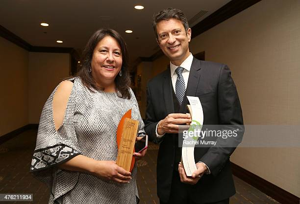 Vice President of Global Green USA Mary Luevano and Honoree Ibrahim AlHusseini attend the Global Green USA 19th Annual Millennium Awards on June 6...