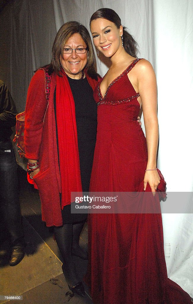 Vice president of IMG Fashion Fern Mallis (L) and singer Joss Stone pose at the fashion tents in Bryant Park during Mercedes-Benz Fashion Week Fall 2008 on February 1, 2008 in New York City.
