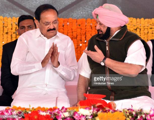Vice President of India M Venkaiah Naidu and Punjab Chief Minister Captain Amarinder Singh during the foundation laying ceremony of Kartarpur...