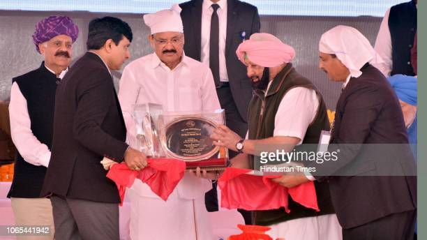 Vice President of India M Venkaiah Naidu honoured by Punjab Chief Minister Captain Amarinder Singh during the foundation laying ceremony of Kartarpur...