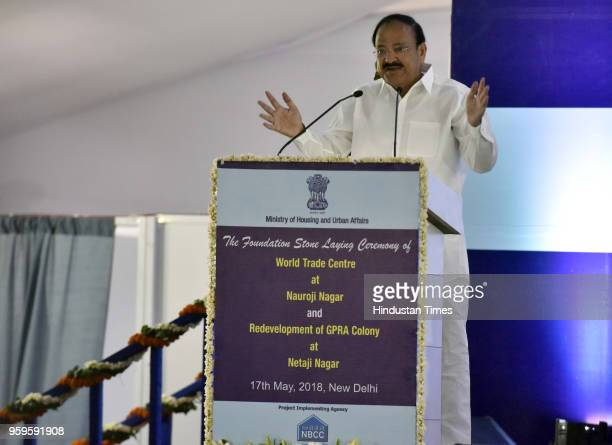Vice President of India M Venkaiah Naidu speaks during the foundation stone laying ceremony of World Trade Centre at Nauroji Nagar and redevelopment...