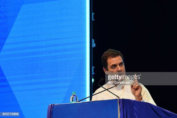 Vice President of Indian National Congress Rahul Gandhi speaks during the inaugural event of the Dr BR Ambedkar International Conference 2017 in...
