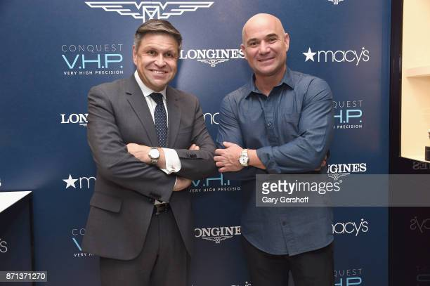 Vice President of Longines and Head of International Marketing JuanCarlos Capelli and Andre Agassi attend the launch of Longines Master Collection...