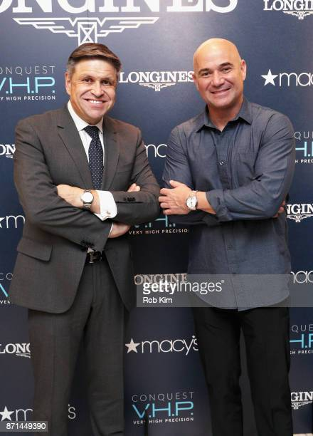 Vice President of Longines and Head of International Marketing JuanCarlos Capelli and Longines Ambassador of Elegance Andre Agassi appear at Macys...