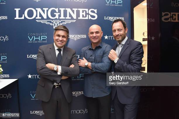 Vice President of Longines and head of International Marketing JuanCarlos Capelli Andre Agassi and President of Longines United States Pascal savoy...