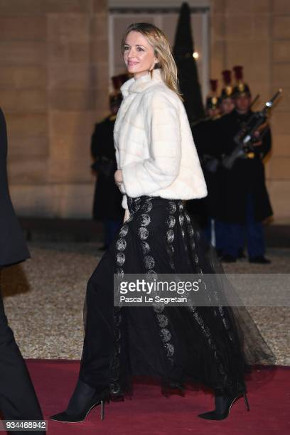 Vice President of Louis Vuitton Delphine Arnault attends a State dinner hosted by French President Emmanuel Macron and Brigitte Macron at the Elysee...