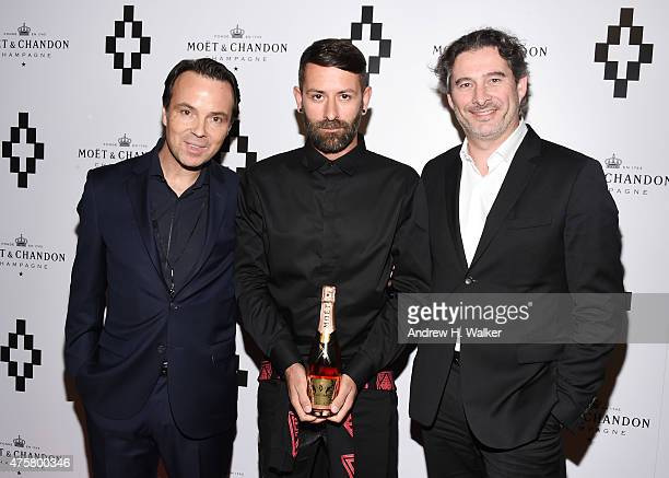 Vice President of Moet Chandon at Moet Hennessy USA Thomas Bouleuc fashion designer Marcelo Burlon and Head Winemaker at Moet Chandon Gouez attend...