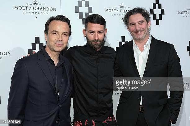 Vice president of Moet Chandon at Moet Hennessy USA Thomas Bouleuc Fashion designer Marcelo Burlon and head winemaker at Moet Chandon Gouez arrive...