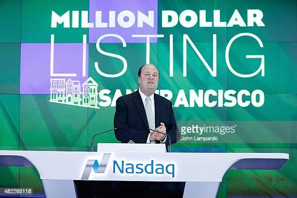 Vice President of NASDAQ David Wicks rings the Nasdaq Stock Market opening bell celebrating the Million Dollar Listing San Francisco during opening...