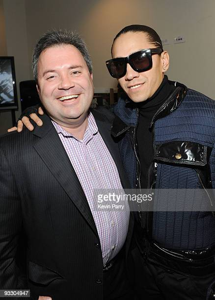 Vice President of Nicole Lee USA Scott Mendelson and musician Taboo of the Black Eyed Peas attend the American Music Awards Luxury Lounge Day 3 at...