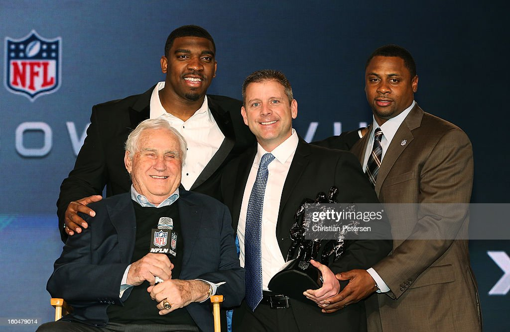 Vice President of Player Engagement Troy Vincent (R), Greg Scruggs (top L) of the Seattle Seahawks, and Former Miami Dolphins head coach Don Shula present Head Coach Steve Specht (2ndR) of St. Xavier High School in Cincinnati is awarded the Don Shula (L) High School Coach of the Year Award during a press conference for Super Bowl XLVII at the Ernest N. Morial Convention Center on February 1, 2013 in New Orleans, Louisiana.