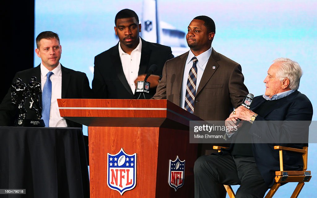 Vice President of Player Engagement Troy Vincent (2ndR), Greg Scruggs (2ndL) of the Seattle Seahawks, and Former Miami Dolphins head coach Don Shula (R) present Head Coach Steve Specht (L) of St. Xavier High School in Cincinnati is awarded the Don Shula High School Coach of the Year Award during a press conference for Super Bowl XLVII at the Ernest N. Morial Convention Center on February 1, 2013 in New Orleans, Louisiana.