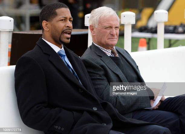 Vice president of player personnel Andrew Berry and owner Jimmy Haslam of the Cleveland Browns sit on the sideline prior to a game against the...