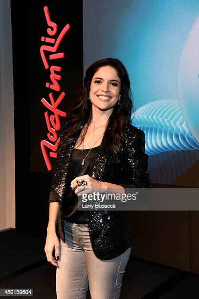 Vice president of Rock in Rio Roberta Medina poses onstage during the Rock In Rio USA event in Times Square on September 26 2014 in New York City