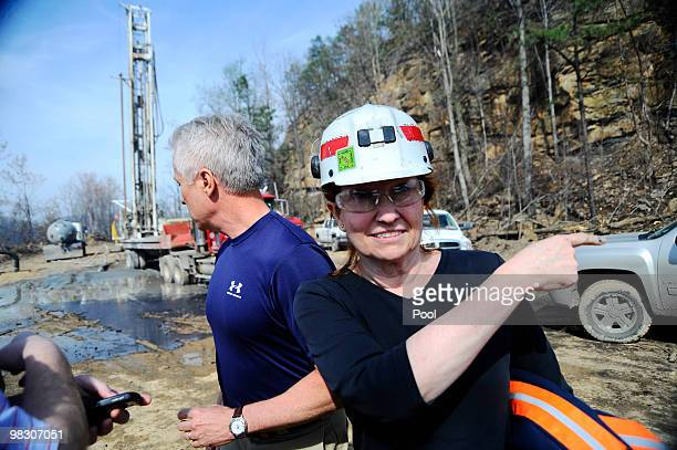 Vice President of Safety and Health for Massey Energy Co Elisabeth Chamberlin speaks to a reporter along with Mike Snelling Vice President of Surface...