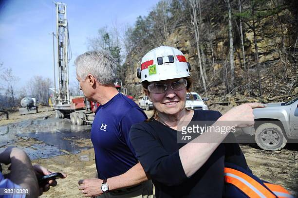 Vice President of Safety and Health for Massey Energy Co Elisabeth Chamberlin right speaks to a repoter along with Mike Snelling Vice President of...